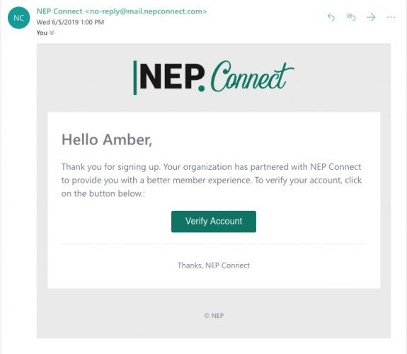NEP Connect Registration email b8354157